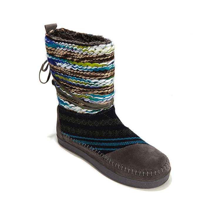 TOMS Nepal Suede and Textile Pull-On Boot - Gray Suede