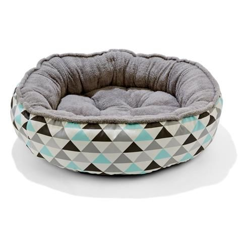 AVAILABLE MOUNT OMMANEY   Plush Pet Bed - Geometric Print, Medium