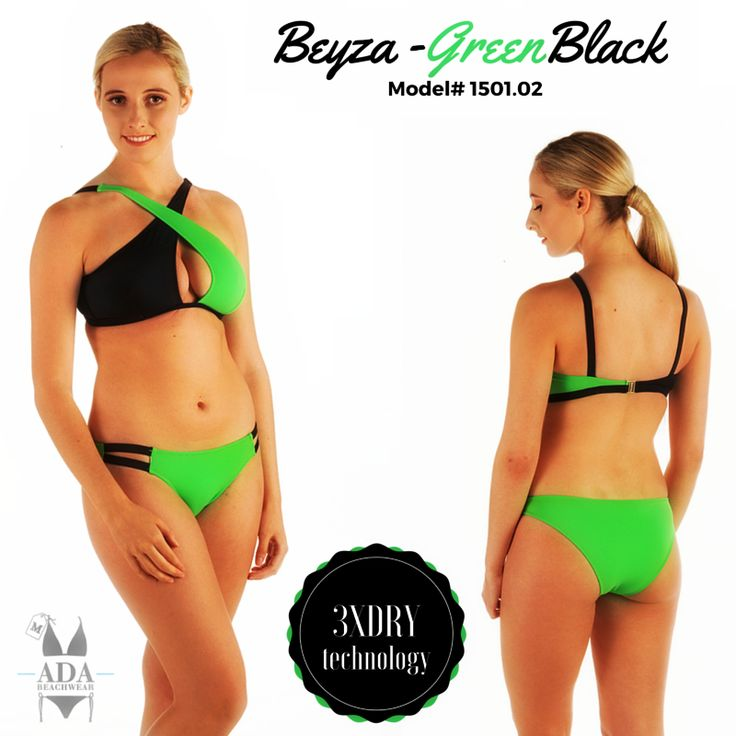 BEYZA - TWO PIECE BIKINI SWIMWEAR- GREEN/BLACK... All our products have 3XDRY technology that provides the comfort by drying 8 times faster than regular swimwear brands.  UV filtered fabrics give extra protection to your skin.