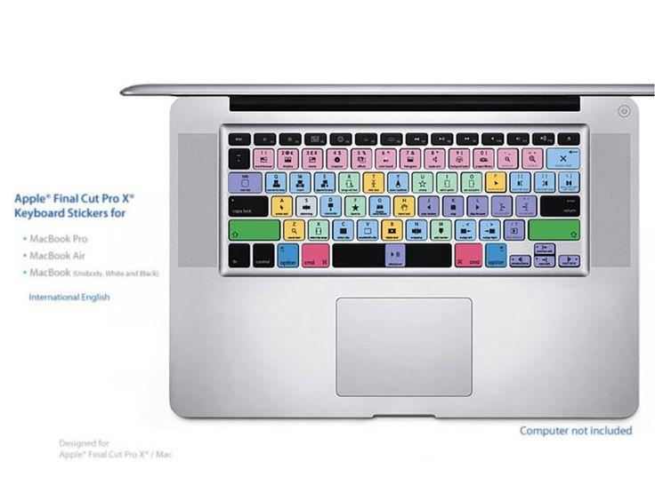 Final Cut Pro X Laptop Key Keyboard Shortcuts Stickers Labels (Black Letters)/MAC