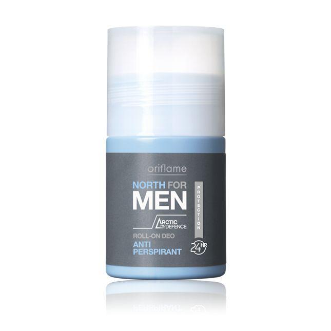 Desodorante Roll-On Anti-transpirante North For Men. Desodorante roll-on antitranspirante, 24 horas de protección contra las malos olores y la transpiración. Fórmula no pegajosa, de rápida absorción y enriquecida con Artic Pro Defense, frescura y protección para tu piel. 50  ml. Código:15548  #oriflame