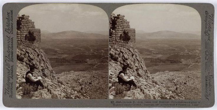 Outlook E. from castle over Boeotian Orchomenos - mighty in Homeric times - Greece Ο αρχαιολογικός χώρος. Ορχομενός, 1907 Underwood & Underwood