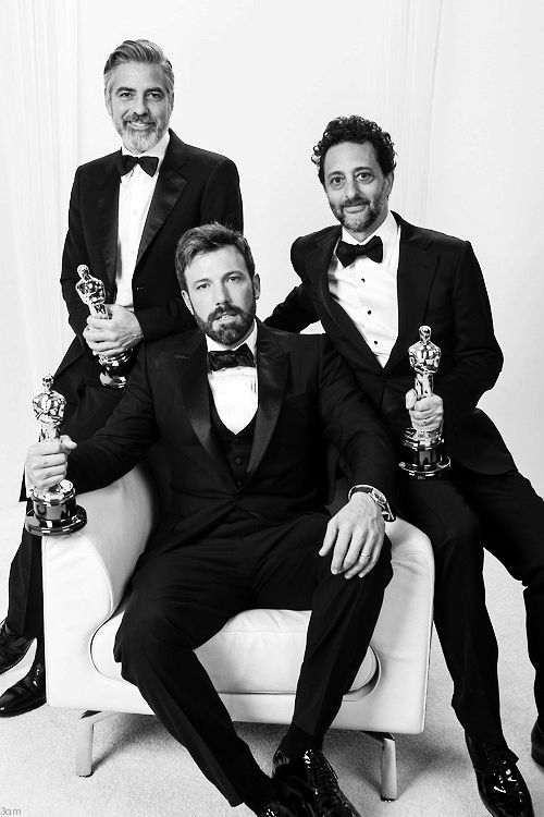 George Clooney, Ben Affleck, and Grant Heslov. Best Picture winners for Argo, 2013 Oscars.