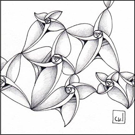 Zentangle ® 3.5 x 3.5 Ink on paper 2015.1.16 by CherylWilsonStudio