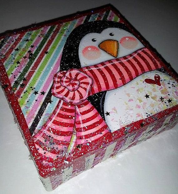 Pingouin de Noël originale mixte toile 4 x 4