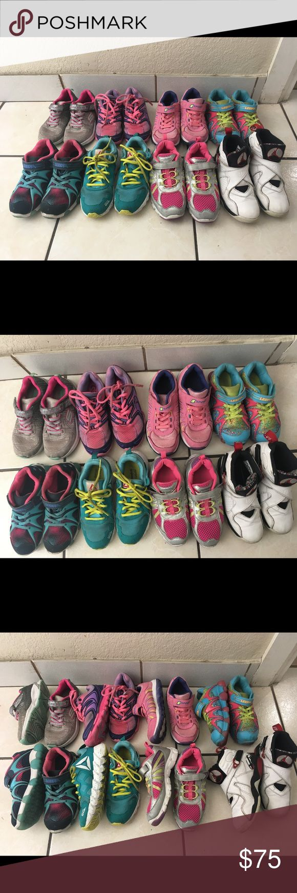 Tenis 👟 shoes 8 parts tenis 👟 shoes  for girls all is in good conditions the sizes is 13/1/2 reebok . Skechers stride rite leepz champion sport Jordan23 8 diferent Shoes Sneakers