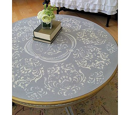 Pretty French Inspired Table Redo - stencil and hand painted filigree