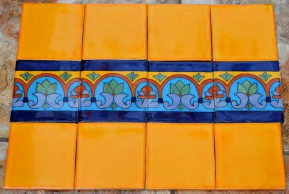 12 Mexican Talavera Tiles Hand Made Hand Painted 4 X 4 Mix Handmade Talavera Pottery Tiles