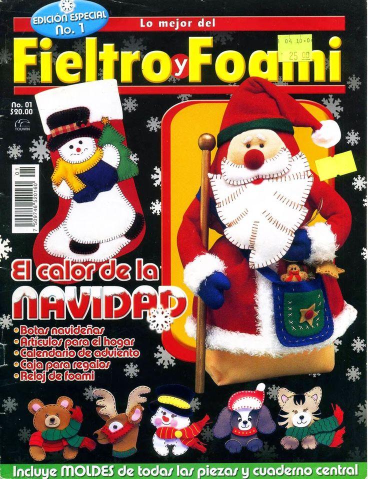 como hacer muñecos navideños en fieltro - Revistas de Fieltro gratis