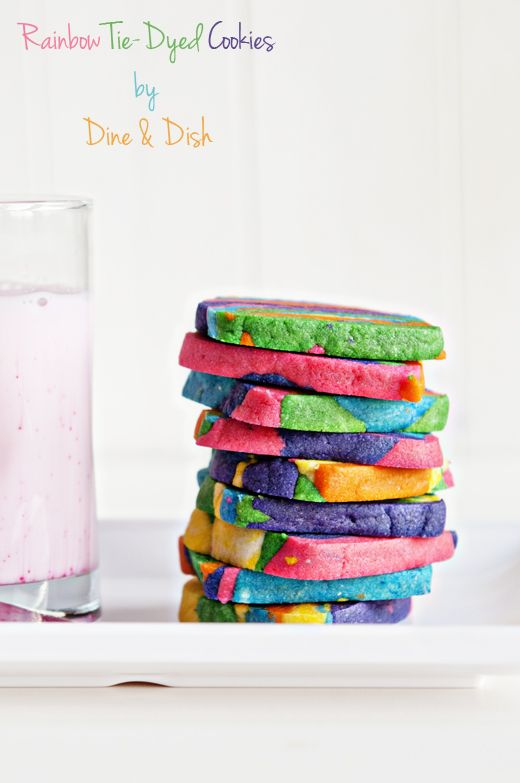 Rainbow Tie Dyed Sugar Cookies from www.dineanddish.net