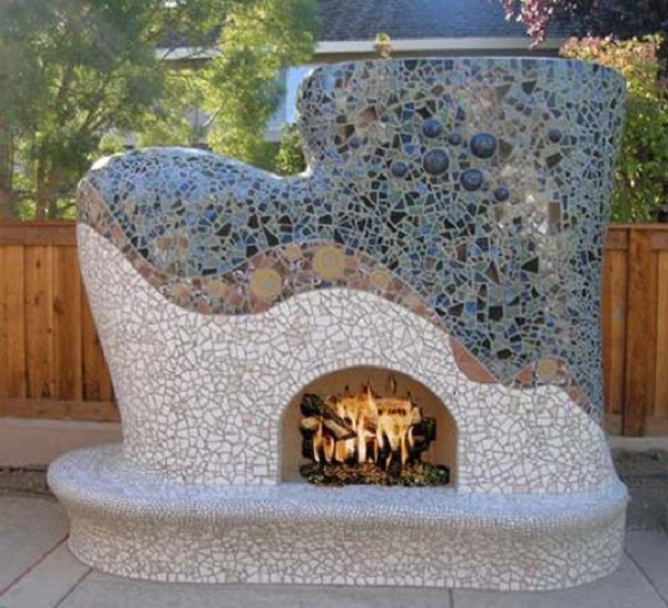 Modern Outdoor Kitchen Ideas - Unique Stone Fireplace