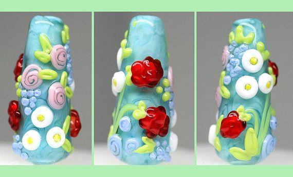 Raspberry bead Floral lampwork focal pendant Flower ornament