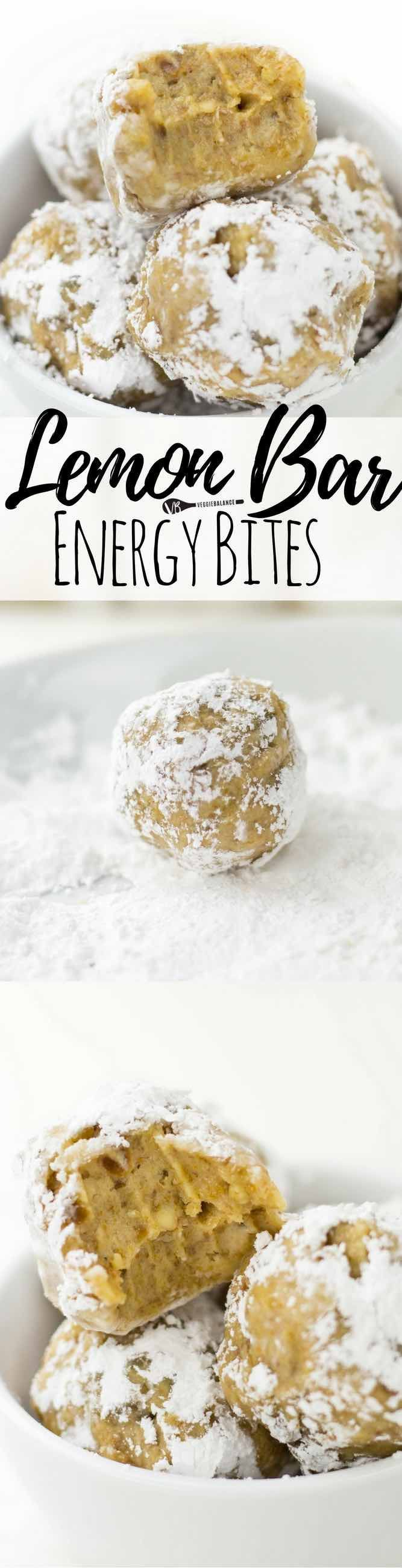 Healthy Lemon Bar Bites are everything you want in a Lemon Bar with a healthy twist. All you need are 5 ingredients and a quick whirl in the food processor. Roll them into a little powdered sugar and the perfect flavor profile is created. (Gluten Free, Dairy Free, Vegan)