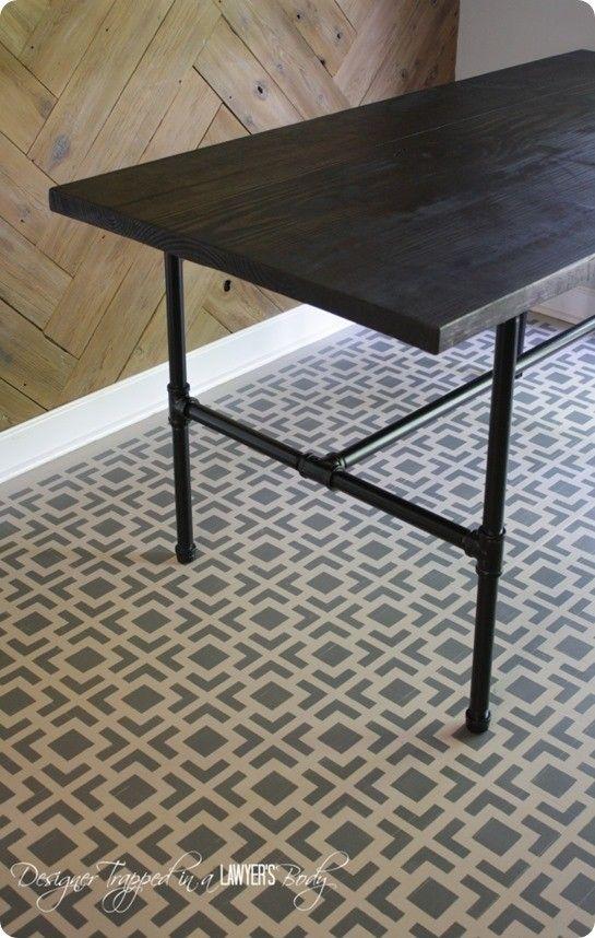 industrial pipe leg dining table crafts diy home decor rh pinterest com