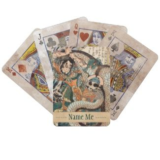 Utagawa Kuniyoshi suikoden hero fighting snake art Bicycle Card Decks #Utagawa #Kuniyoshi #suikoden #hero #fighting #giant #snake #art #unique #customizable #japanese #accessories and #gifts from Zazzle #Japan #warrior #samurai #tale #legend #art #gift