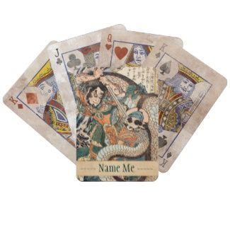 Utagawa Kuniyoshi suikoden hero fighting snake art Bicycle Card Decks #Utagawa #Kuniyoshi #suikoden #hero #fighting #giant #snake #art #unique #customizable #japanese #accessories and #gifts from Zazzle #Japan #warrior #samurai #tale #legend #art #gift