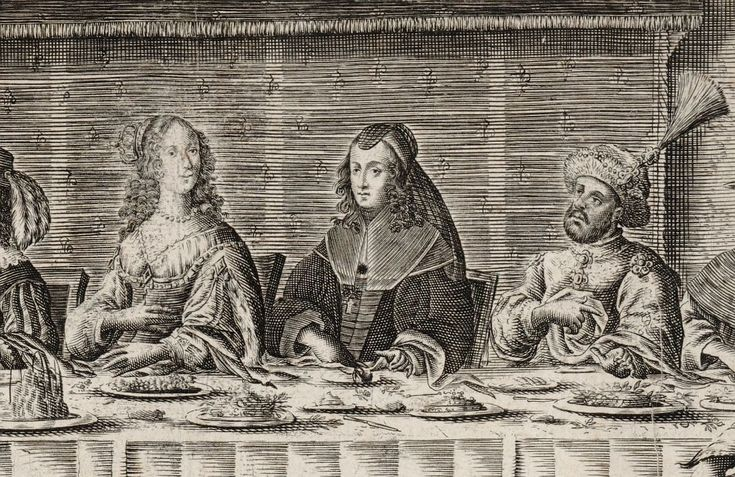 Detail of the wedding feast of King and Queen of Poland by François Campion, 1645 (PD-art/old), Bibliothèque nationale de France, banquet at Fontainebleau in honour of Marie Louise Gonzaga and Commonwealth's ambassador Gerard Denhoff
