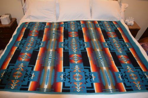 WOOL-Pendleton-Beaver-State-Blanket-Southwestern-Indian-Vintage-Native-Indian