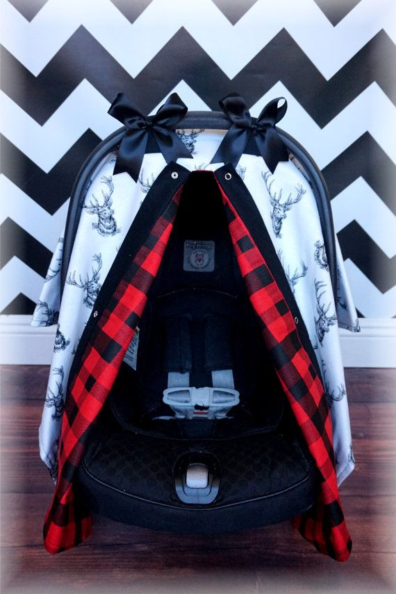 Black and White Deer Buck RED PLAID Flannel by TheCanopyShoppe