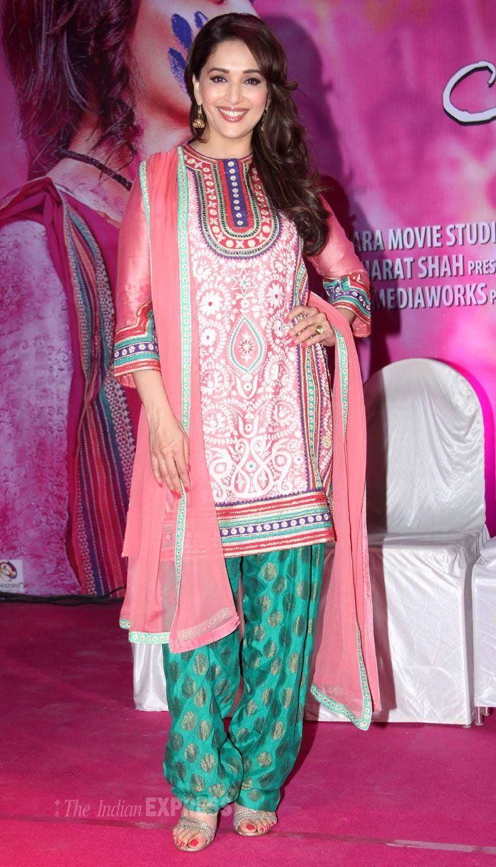 Madhuri Dixit promotes her upcoming film Gulaab Gang in Film City, Mumbai.
