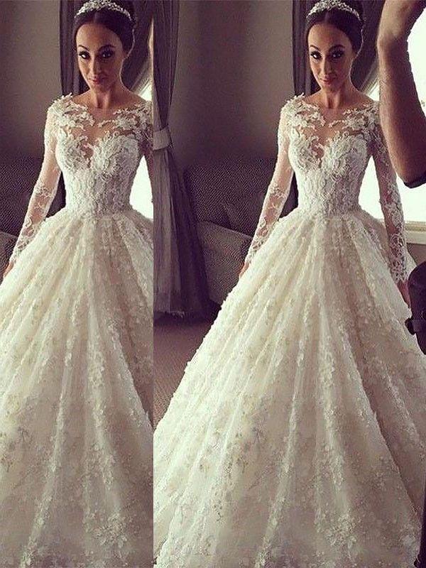 Stora Långa ärmar Rund-urringning Court släp Spetsar Bröllopsklänningar 637a3c94b0fa4