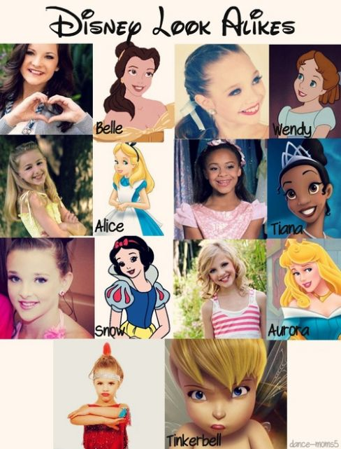 The dance moms girls,as Disney characters