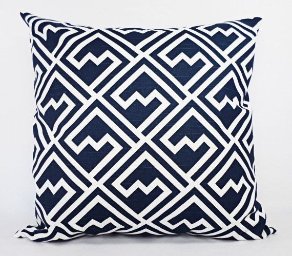Navy Blue Pillow Shams - Set of Two Navy and White Throw Pillow Covers - 18