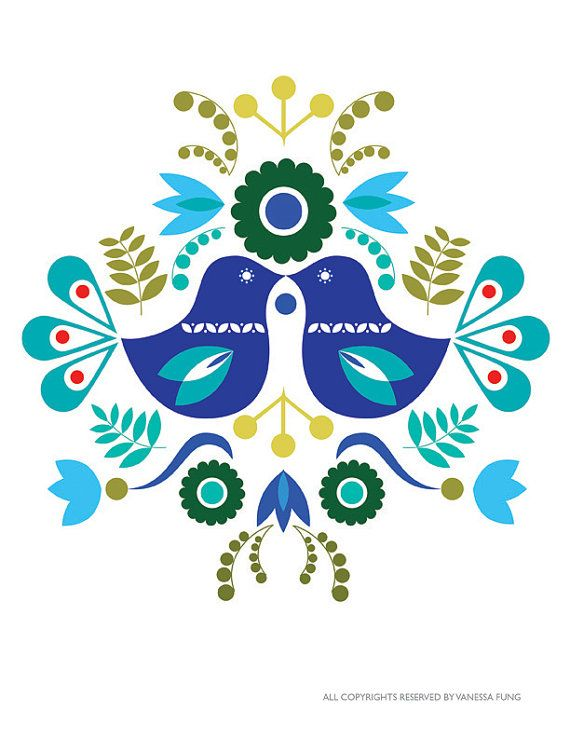 Scandinavian Folk Art Spring Blue love bird flower-Art Print  Paper size: 8.5 X 11, 5 X 7 Image size: Centered on the paper  The image is printed