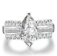 925 Sterling Silver Platinum Plated white sapphire Engagement Ring   stones:AAA zircon  material:ste