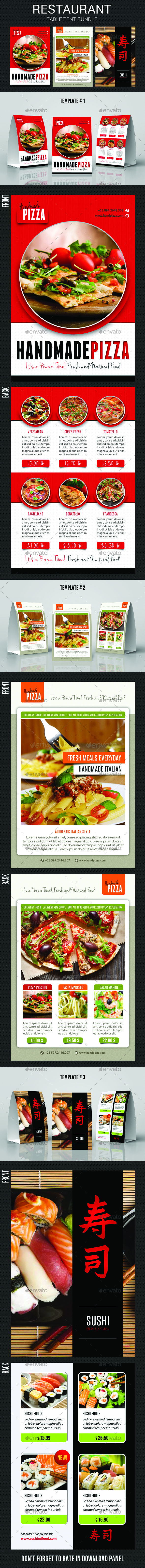 #Restaurant Table Tent Bundle - #Food #Menus Print Templates