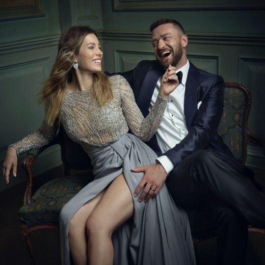 Justin Timberlake & Jessica Biel Portraits from the 2016 Vanity Fair Oscar Party