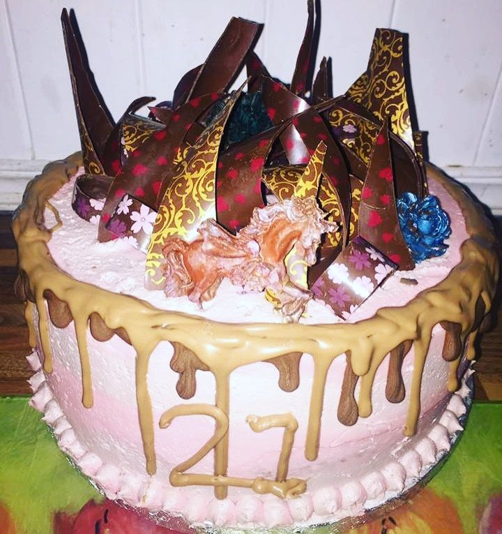 21st birthday chocolate drip cake, with chocolate shards and 2 tone buttercream, and a magical unicorn