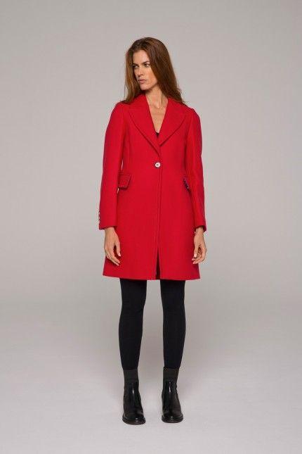 Manteau rouge ajusté en drap de laine armuré  #manteau #rouge #laine #ajusté #femme #qualité #lenerfabriquedemanteaux