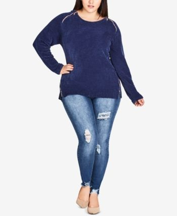 City Chic Trendy Plus Size Zipper Shoulder Sweater - Indigo 1