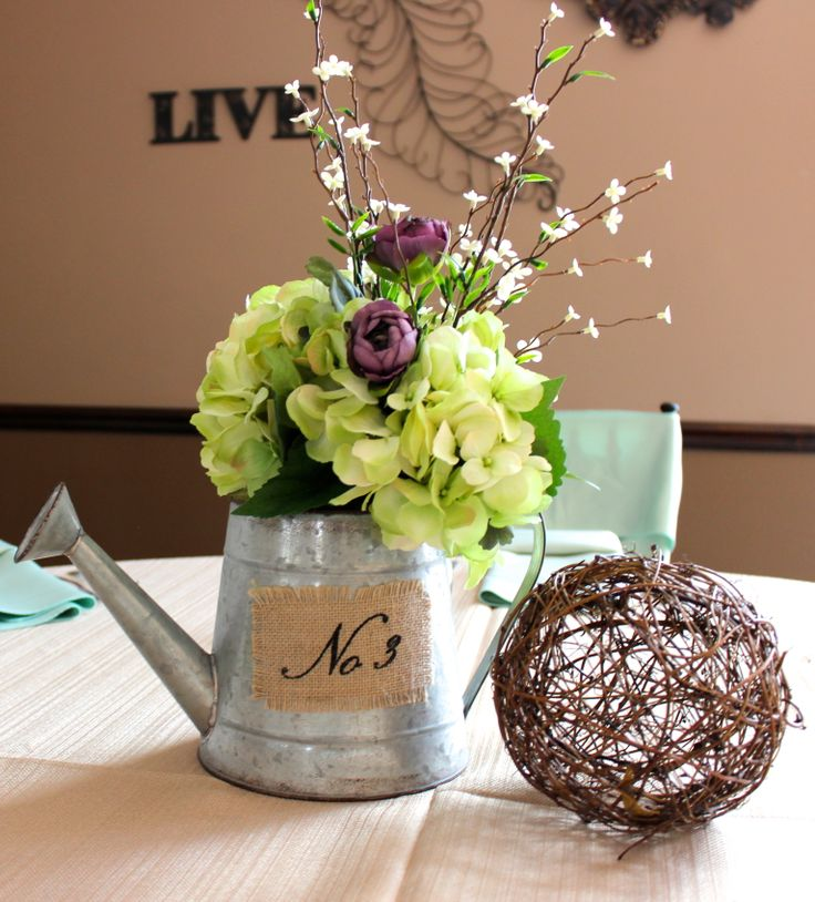 Cute Country Wedding Centerpiece Fill a watering