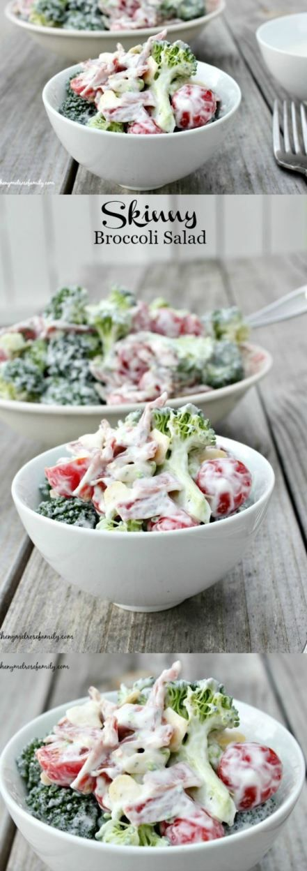 Skinny Broccoli Salad is the perfect side dish for any cookout. Great healthy recipe.