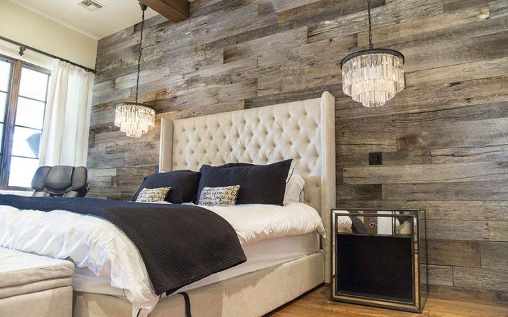Tobacco Barn Grey Wood Wall Covering – Master Bedroom - Want this in my Master Bedroom - one full wall.. love the chandeliers also!