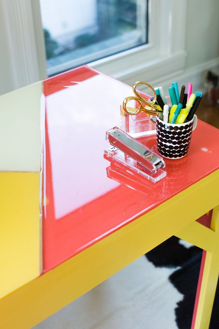 Office desk with paint + layers of epoxy on A Beautiful Mess. Gorgeous!