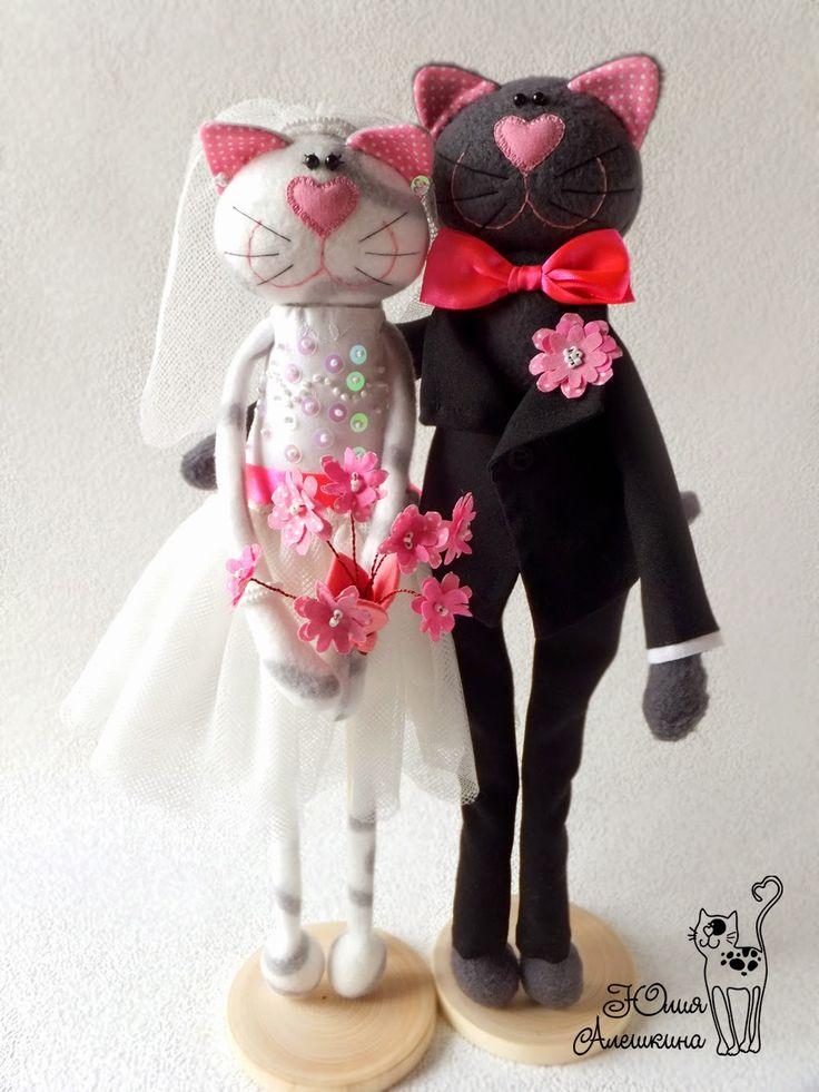 Котики свадебные. Розовые акценты