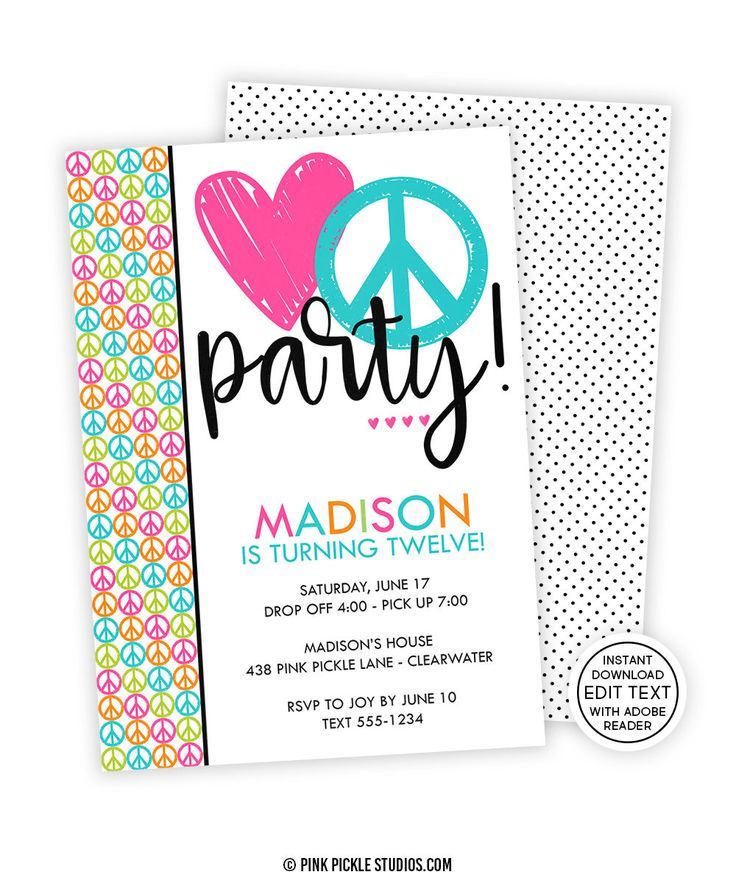 7 best kids birthday invitations images on pinterest birthday peace sign birthday invitation instant download you edit with adobe reader printable invitation filmwisefo Images