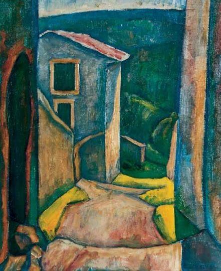 Czigány Dezső (1883-1938)  Pronance-i táj mór kapuval  Olaj, vászon, 65x55 cm