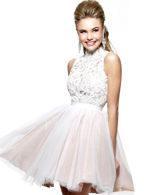 Homecoming Dresses - $122.13 - A-Line/Princess High Neck Short/Mini Tulle Lace Homecoming Dress (0225057630)