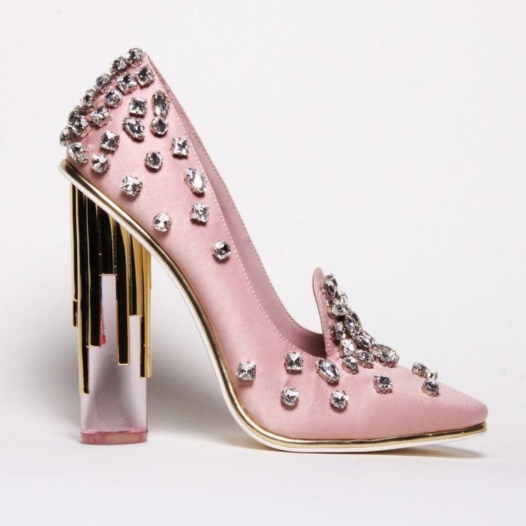 Christian Siriano Crystal Pink Satin Pumps ~ Cynthia Reccord