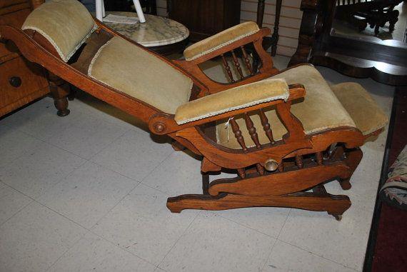 Antique Walnut Victorian Platform Rocker Rocking Chair