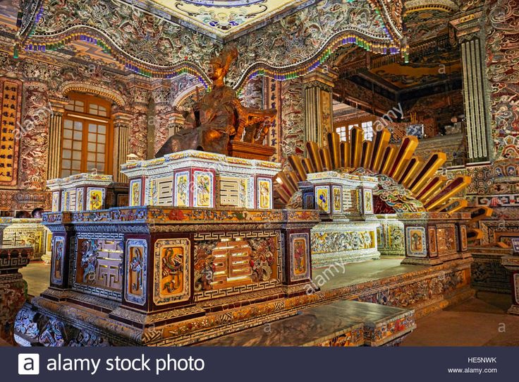 Royal Crypt at the Tomb of Khai Dinh (Ung Tomb), Hue, Vietnam. Stock Photo
