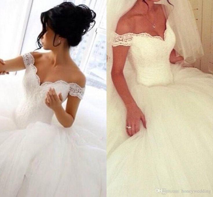 Einfache Ballkleid Brautkleider Billig 2016 Off Schulter Spitze Rüschen Tüll Prinzessin Braut Gonws Custom Vintage Brautkleider