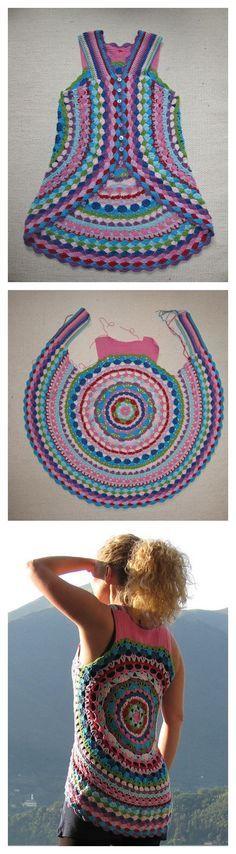 Patrón para blusa circular sin mangas, crochet