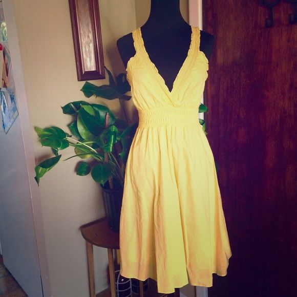 "Festival Dress Bright yellow festival style sundress by Lapis, size small but can also fit a medium comfortably due to the elastic waist. 100% cotton. Skirt is fully lined. Armpit to hem is 30"". A great boho staple! ✌ Lapis Dresses"