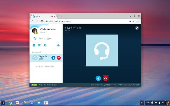 Skype for Web placing an audio call on a Chromebook.
