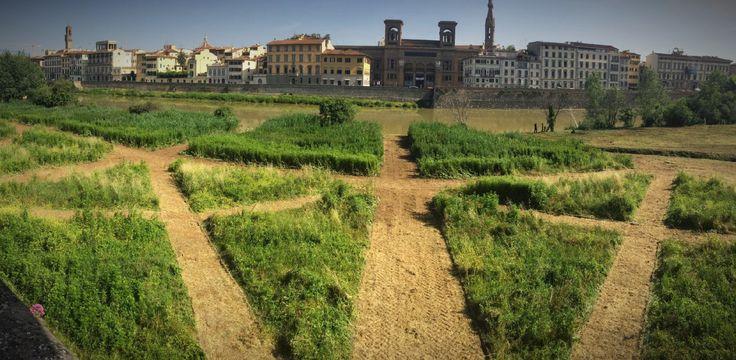 Terzo giardino, Studio++, Intervento d'arte nello spazio pubblico. Firenze riva dell'Arno.